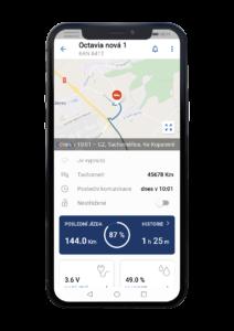 Obrazovka monitorovací mobilní aplikace